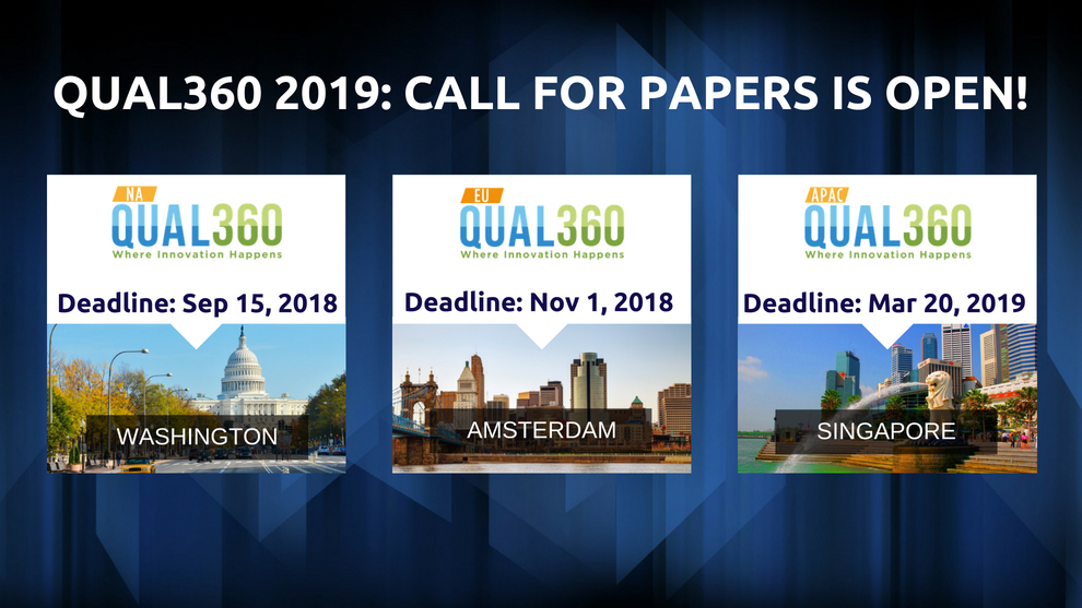 QUAL360 Conference Series 2019 – Call for Papers is Now Open!